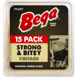 Photo of Bega Strong & Bitey Vintage Natural Cheese Slices 250g