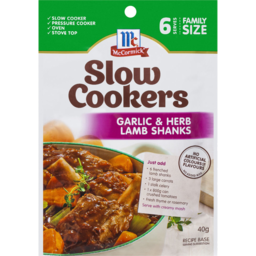 Photo of McCormick Slow Cooker Garlic & Herb Lamb Shanks 40g