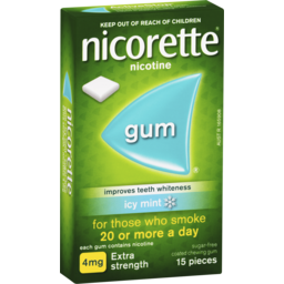 Photo of Nicorette Quit Smoking Nicotine Gum Extra Strength Coated Icy Mint 15 Pack