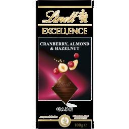 Photo of Lindt Excellence Cranberry, Almond & Hazelnut Dark Chocolate 100g