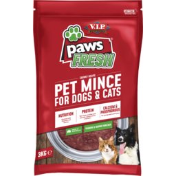 Photo of V.I.P. Petfoods Paws Fresh Minced Chilled Dog And Cat Food 3kg