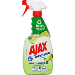 Photo of Ajax Spray N Wipe Zesty Lime Multipurpose Antibacterial Cleaner Trigger Spray 475ml