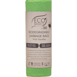 Photo of Eco Basics Large Biodegradable Garbage Bags With Handles 50l 10 Pack