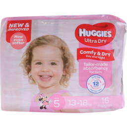 Photo of Huggies Ultra Dry Nappies Walker Girl 16pk