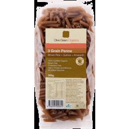 Photo of Olive Green Organics Pasta - 3 Grain Penne (Brown Rice, Quinoa & Amaranth)