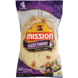 Photo of Mission Indian Naan Bread Garlic & Herb 280gm