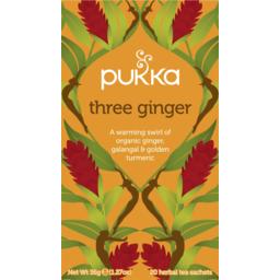 Photo of Pukka Herbs - Three Ginger Herbal Tea Bags - Organic & Fair Ginger, Galangal And Golden Turmeric - 20 Sachets Per Box