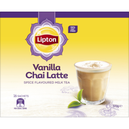 Photo of Lipton Vanilla Chai Latte Spice Flavoured Milk Tea Sachets 16 Pack 370g