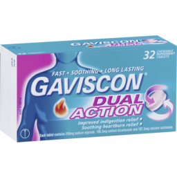 Photo of Gaviscon Dual Action Chewable Tablets Peppermint Heartburn & Indigestion Relief 32 Pack