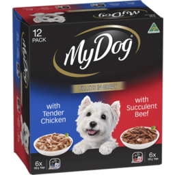 Photo of My Dog Wet Dog Food With Tender Chicken, With Succulent Beef Fillets In Gravy 12x100g Trays