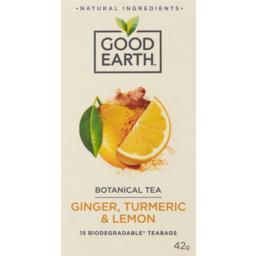 Photo of Good Earth Ginger, Turmeric & Lemon Botanical Tea 15 Pack 42g