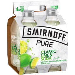 Photo of Smirnoff Pure Classic Lime & Soda Bottles