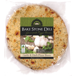 Photo of Bake Stone Deli Garlic Herb Pizza Bases 450gm