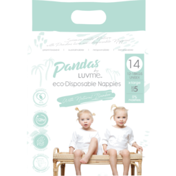 Photo of Pandas by Luvme ECO Disposable BAMBOO Nappies XLARGE 12-18kg 14's