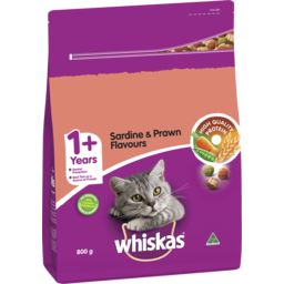 Photo of Whiskas 1+ Dry Cat Food Sardine & Prawn Flavours 800g Bag