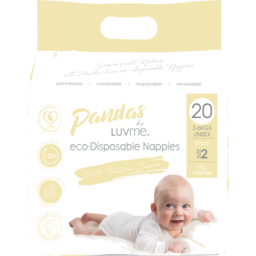 Photo of Pandas by Luvme ECO Disposable BAMBOO Nappies SMALL 3-6kg 20's