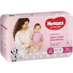 Photo of Huggies Ultra Dry Nappies, Girls, Size 4 Toddler (10-15kg), 36 Nappies Bulk Packs