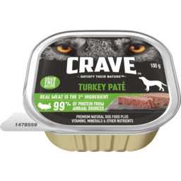 Photo of Crave Wet Dog Food Turkey Pate Tray 100g