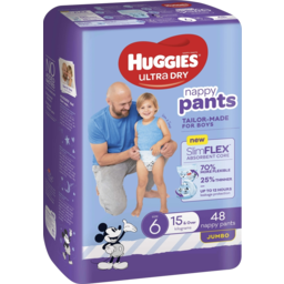 Photo of Huggies Ultra Dry Nappy Pants Boy Size 6 (15kg+) 48 Pack