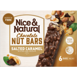 Photo of Nice & Natural Salted Caramel With Real Milk Chocolate Roasted Nut Bars 6 Pack 180g