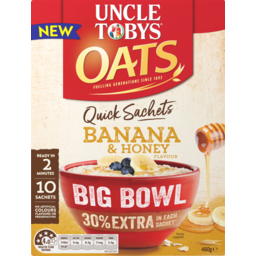 Photo of Uncle Tobys Oats Quick Sachets Breakfast Cereal Banana Honey Big Bowl 460g