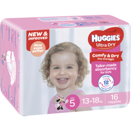 Photo of Huggies Ultra Dry Nappies, Girls, Size 5 Walker (13 - 18kg), 16 Nappies