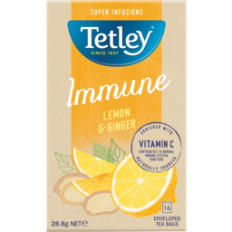 Photo of Tetley Lemon & Ginger Super Infusions Immune Tea Bags 16 Pack 28.8g