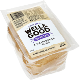 Photo of Well & Good Bakery 3 Hamburger Buns Gluten Free 300gm