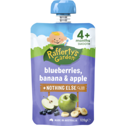Photo of Raffertys Garden Blueberry, Banana & Apple Puree Baby Food 4m+ 120gm