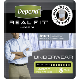 Photo of Depend Real Fit Underwear Male Large 8 pack