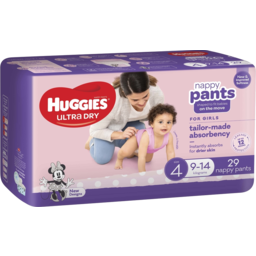Photo of Huggies Ultra Dry Nappy Pants, Girls, Size 4 (9-14g), 29 Count Convenience Packs
