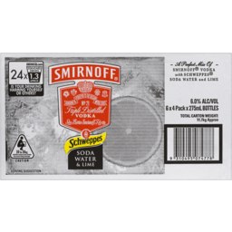 Photo of Smirnoff Schweppes Soda Water & Lime Stubbies