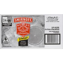 Photo of Smirnoff Schweppes Soda Water & Lime Stubbies