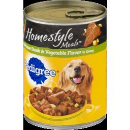 Photo of Pedigree Food For Dogs Homestyle Meals Porterhouse Steak & Vegetable Flavor In Gravy