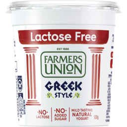 Photo of Farmers Union Lactose Free Greek Style Natural Yogurt 500g
