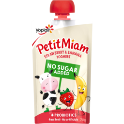Photo of Yoplait Petit Miam Strawberry & Banana No Added Sugar Yoghurt Squeezie Pouch 70g