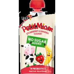 Photo of Yoplait Petit Miam Strawberry & Banana No Added Sugar Yoghurt Squeezie Pouch 70g