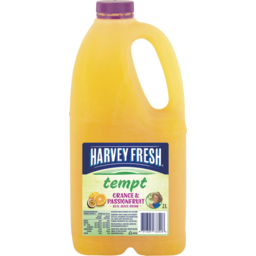 Photo of Harvey Fresh Tempt Orange And Passionfruit Fruit Drink 2L