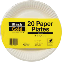Photo of Black & Gold Paper Plates 175mm 20pk