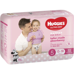 Photo of Huggies Ultra Dry Nappies, Girls, Size 5 Walker (13-18kg), 32 Nappies Bulk Packs