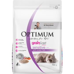 Photo of Optimum Nutrition For Life Grain Free Sensitive 1+ Years With Ocean Fish Dry Cat Food 700g