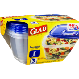 Photo of Glad Food Storage Containers, Deep Dish, 64 Ounce, 3 Count