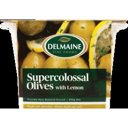 Photo of Delmaine Olives Green, Lemon & Garlic 200g