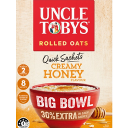 Photo of Uncle Tobys Rolled Oats Quick Creamy Honey Big Bowl 8 Pack 368g