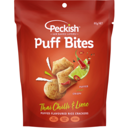 Photo of Peckish Puff Bites Flavoured Rice Crackers Thai Chilli & Lime 80g