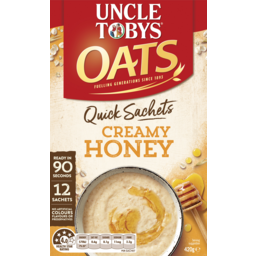 Photo of Uncle Tobys Oats Creamy Honey Quick Sachets 12 Pack 420g