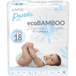 Photo of Luvme Panda Eco Large 9-14kg Eco Bamboo Unisex Disposable Nappies 18 Pack
