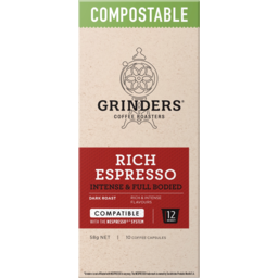 Photo of Grinders Rich Espresso Intense & Full Bodied Compostable Coffee Capsules 10 Pack 58g