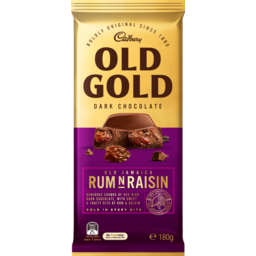 Photo of Cadbury Old Gold Dark Chocolate Old Jamaica Rum N Raisin 180g