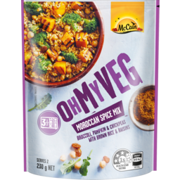 Photo of Mccain Oh My Veg Moroccan Spice Mix Broccoli Pumpkin & Chickpeas With Brown Rice & Raisins 230g